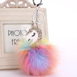 Accessories - NWT Unicorn Rainbow Glitter Pom Keychain Bag Charm